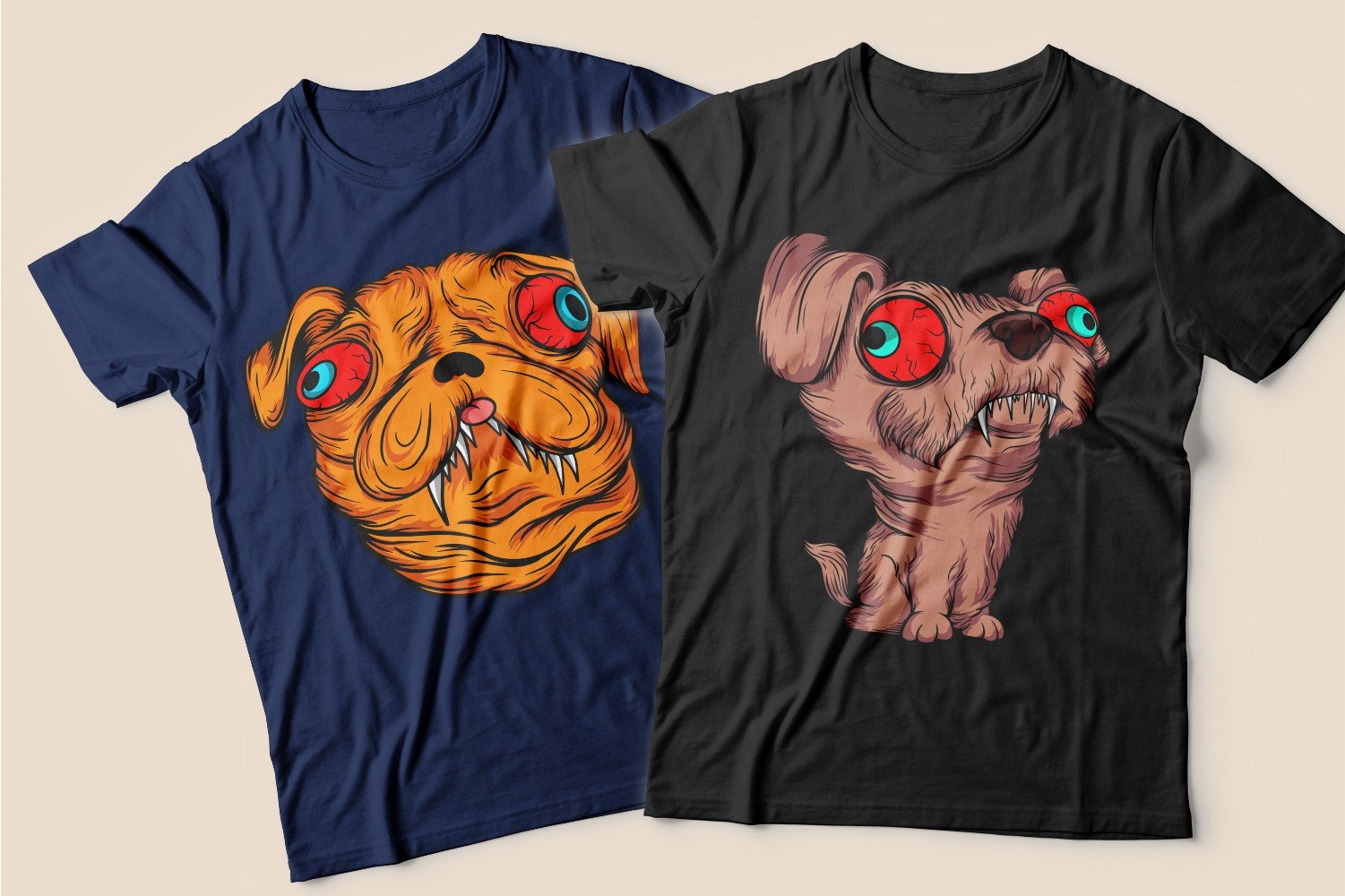 Two T-shirts: blue with a red head dog and black with a beige dog with red eyes.