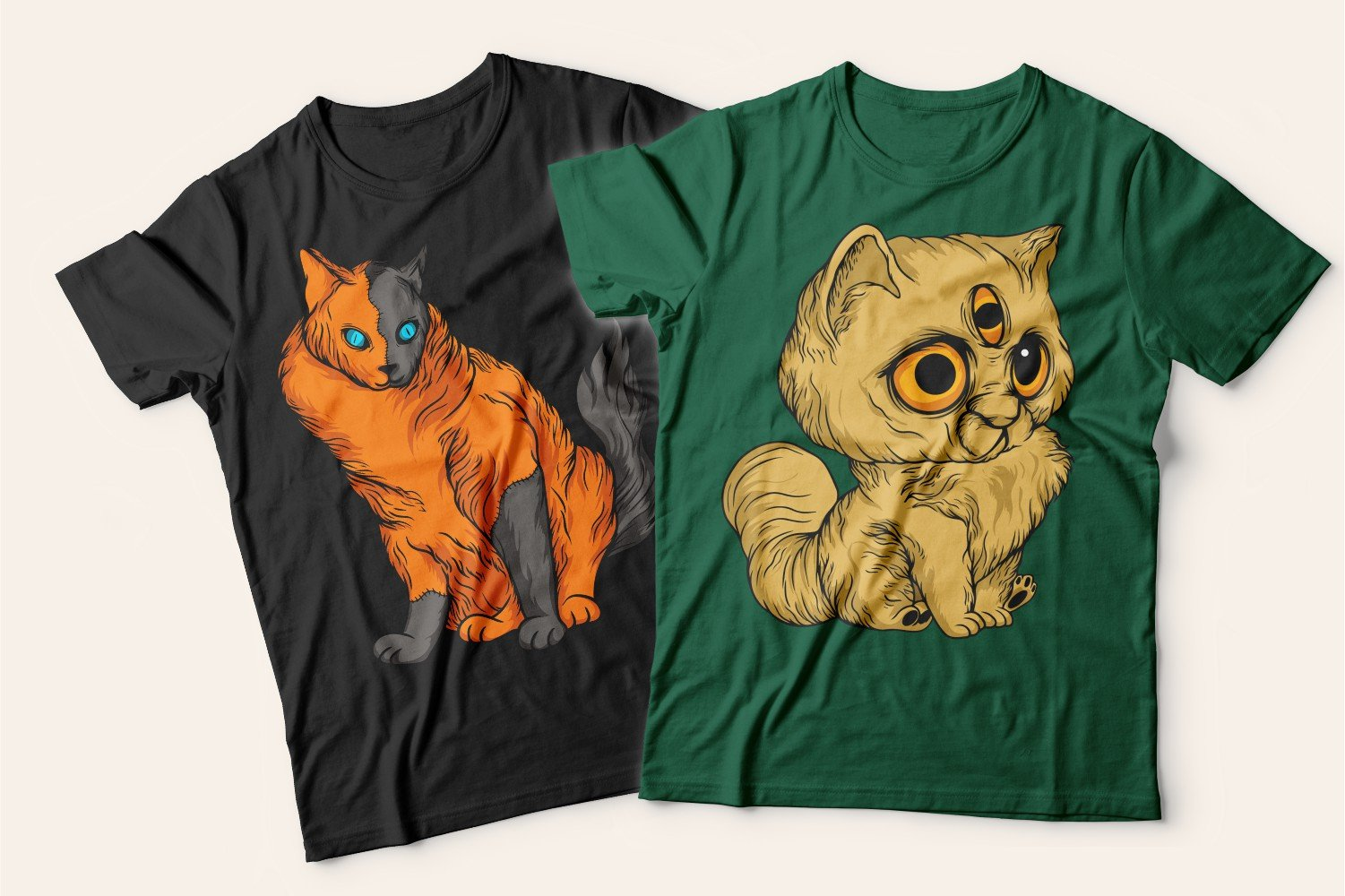 Two T-shirts with cats: one is green with a fluffy tricolor cat, the other is black with a three-eyed kitten.