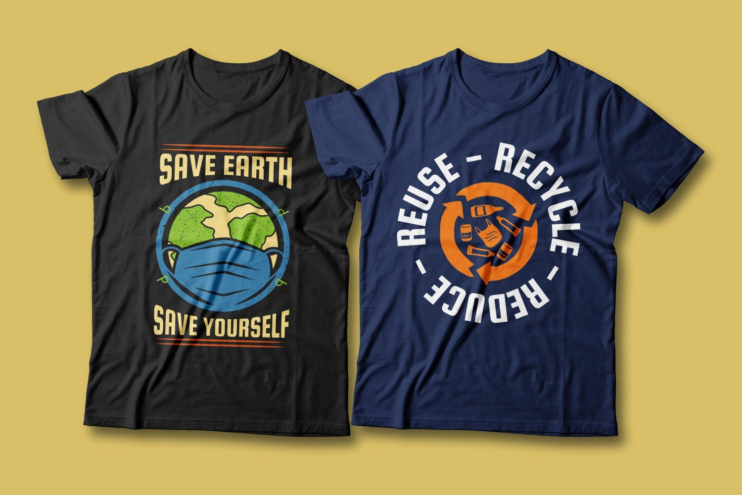 Two T-shirts - blue and black. Both are about cleansing nature from garbage.