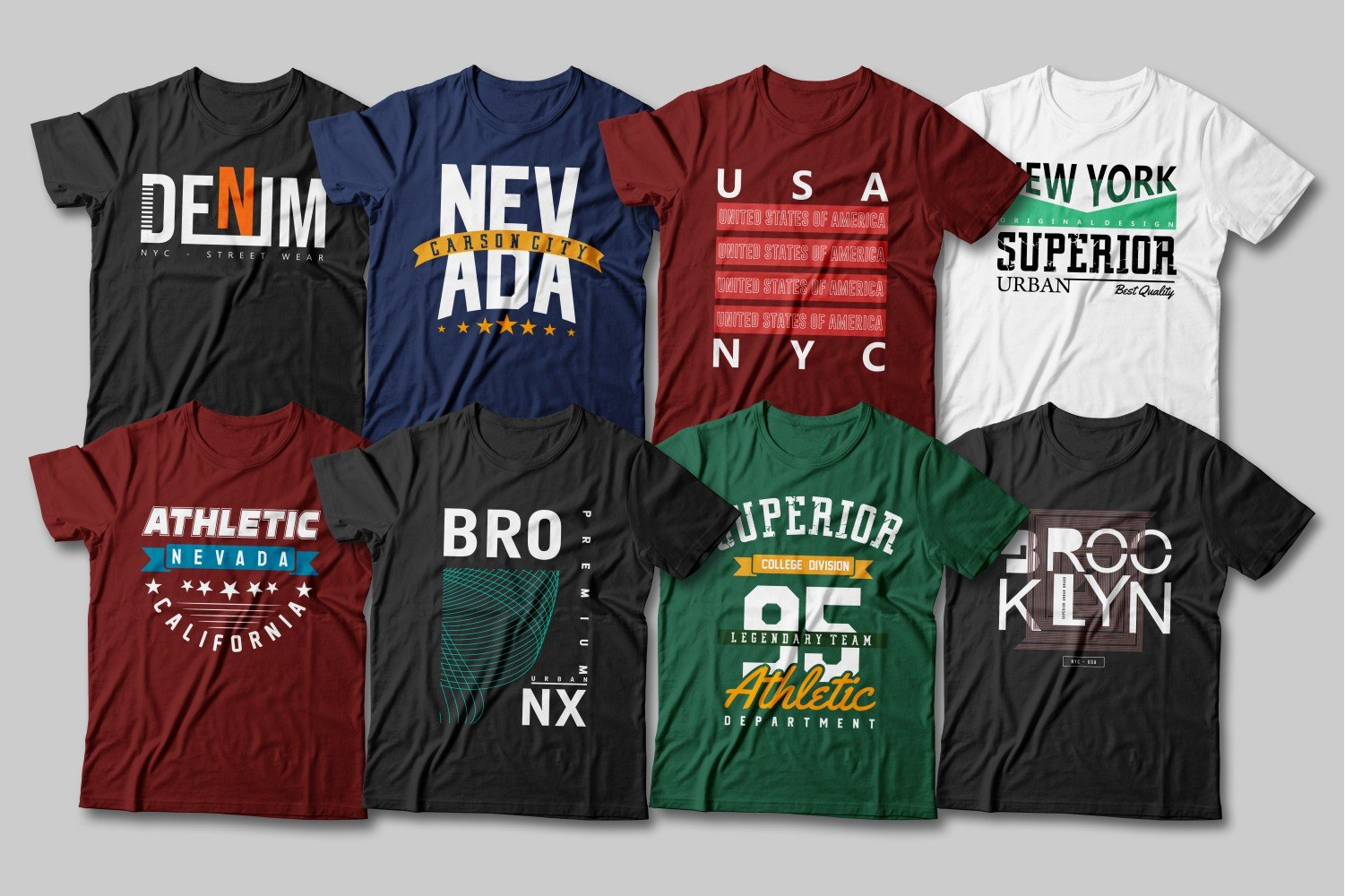 Multicolored T-shirts with inscriptions in various fonts.