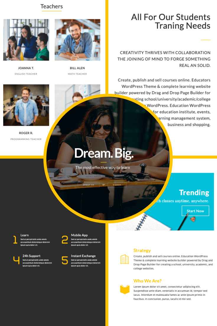 Education WordPress Theme: Courses&Learning Website Builder - $25. Collage Image.