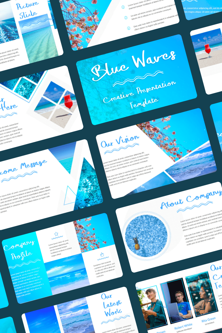 Blue Waves - PowerPoint Template - $15. Collage Image.
