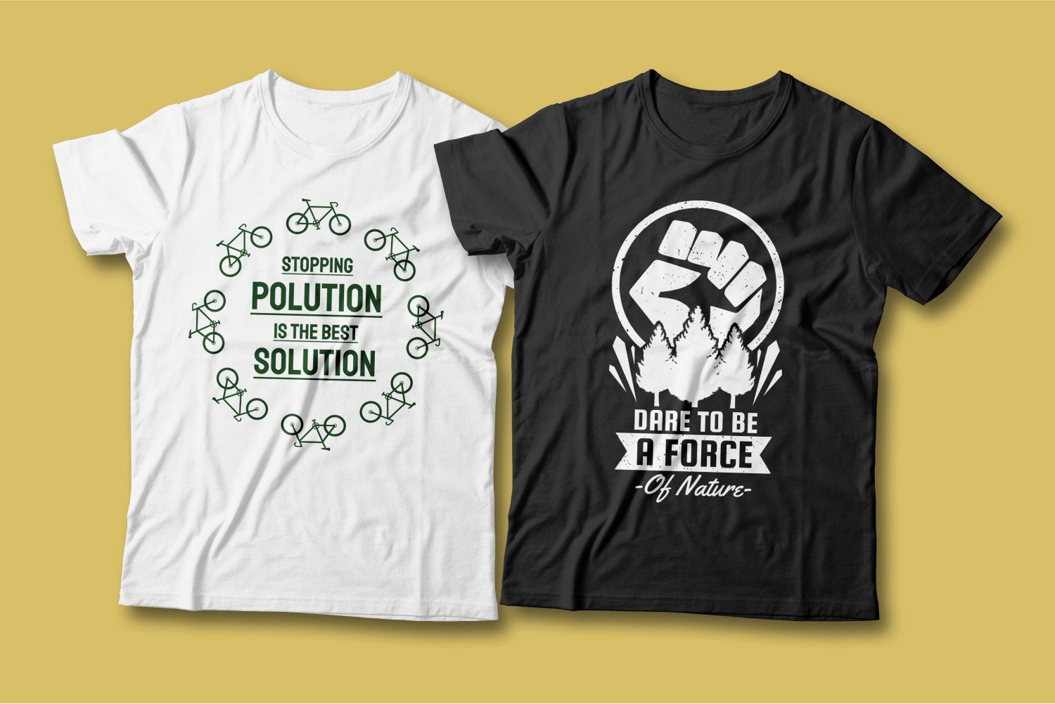 Two T-shirts - one white with green bicycles, the other black with a fist and wood.