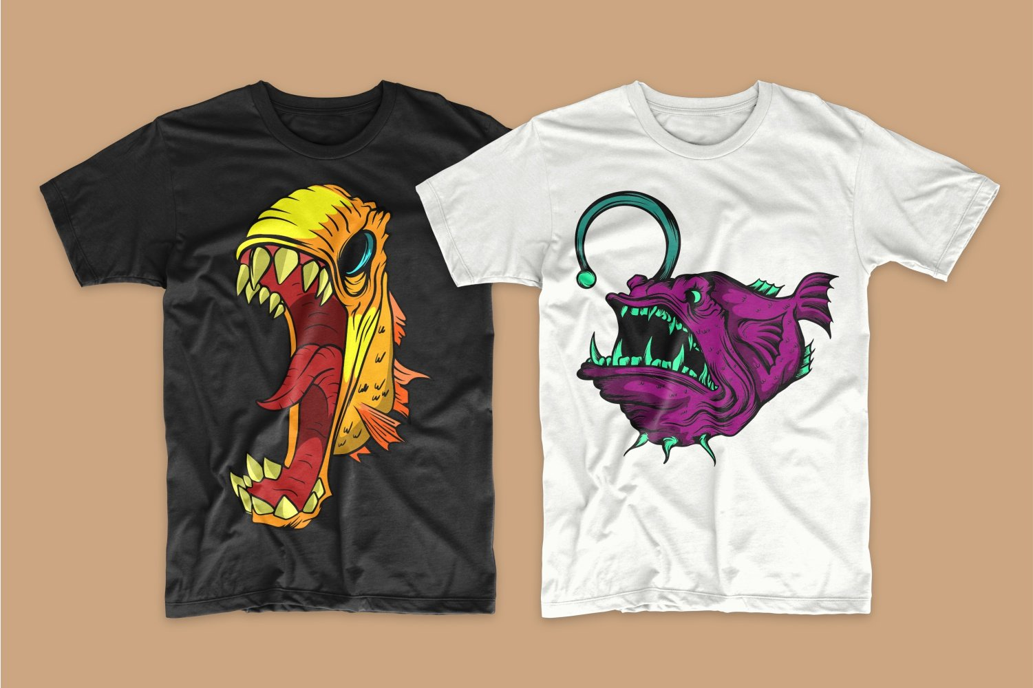 A black T-shirt with a big-mouthed yellow piranha and a white one with a purple angry whale.