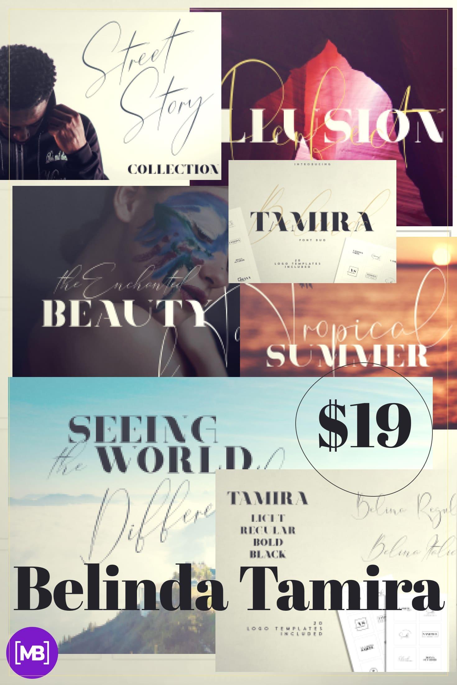 Pinterest Image: Belinda Tamira - Font duo + 20 Logos.