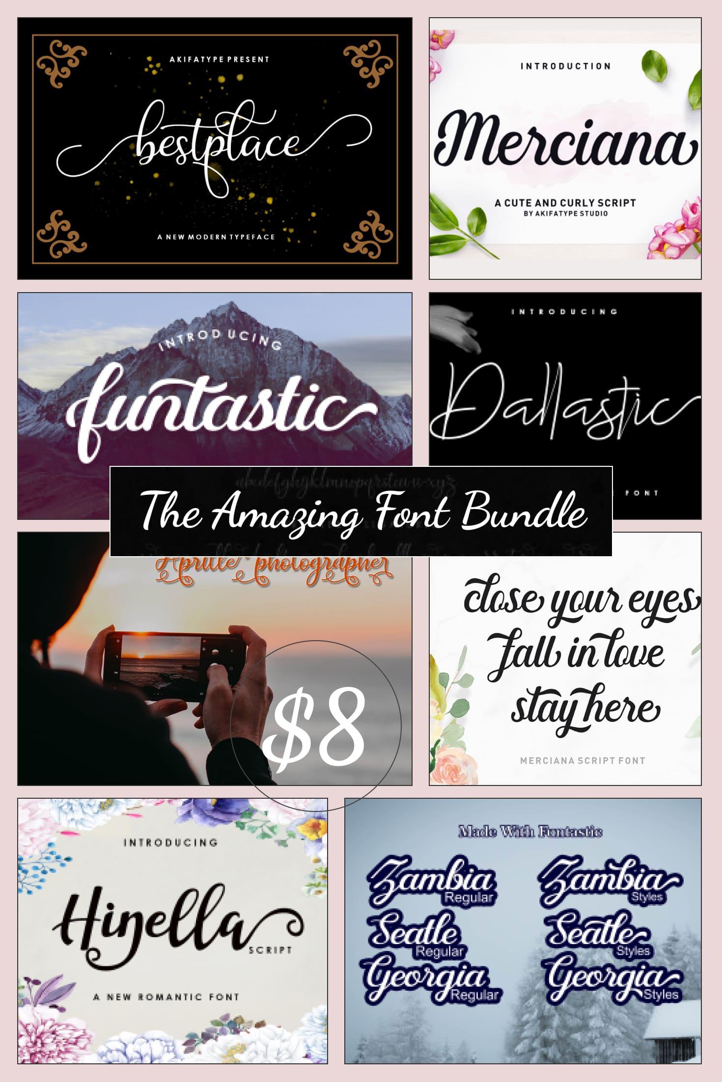 Pinterest Image: The Amazing Font Bundle - 8 Typefaces $8 only.