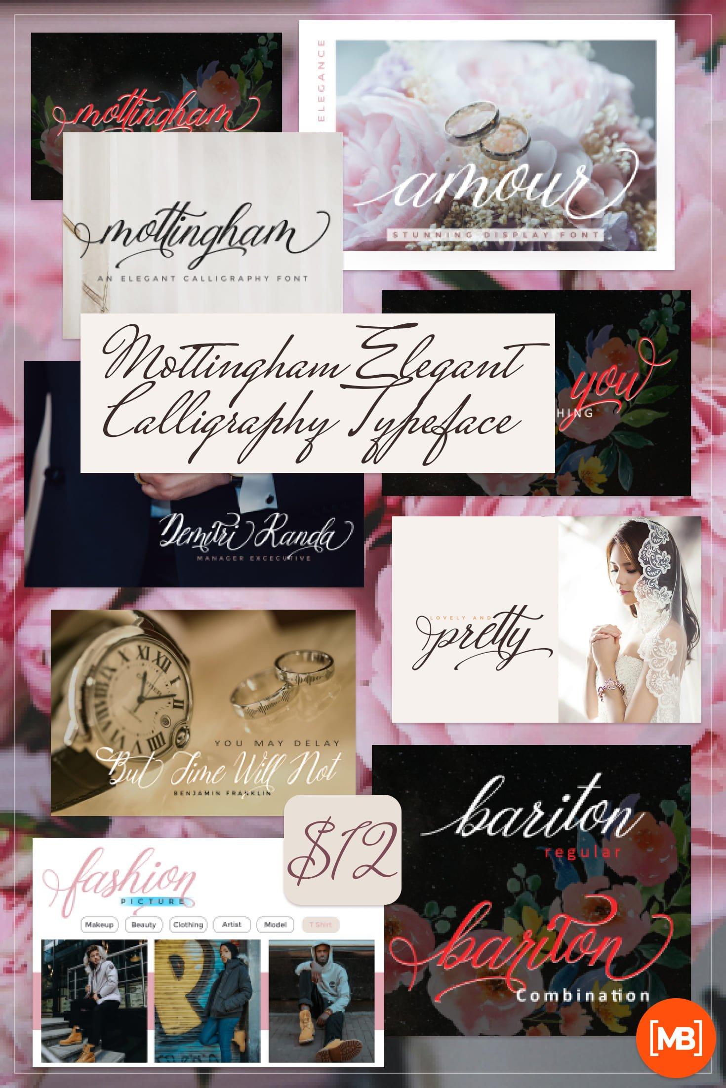 Pinterest Image: Mottingham Elegant Calligraphy Typeface - $12.