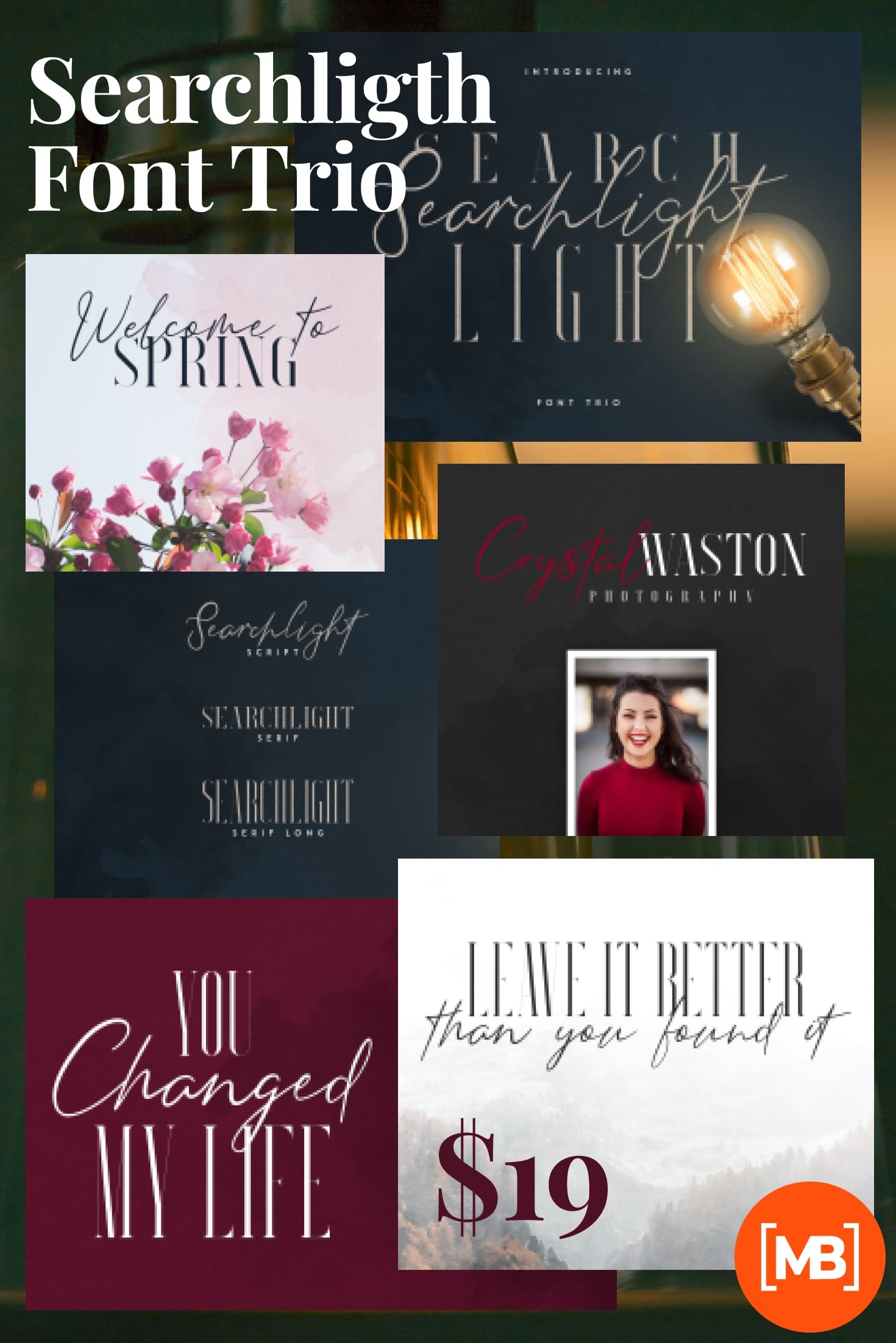 Pinterest Image: Stylish Fonts Download - Searchligth Font Trio $19 Only.