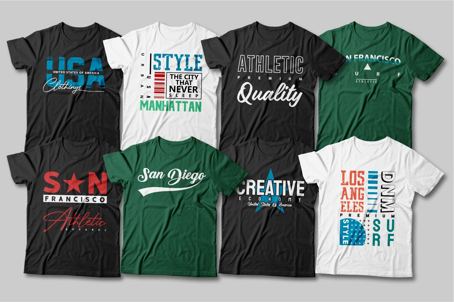 A bunch of T-shirts in different colors - black, green and white.