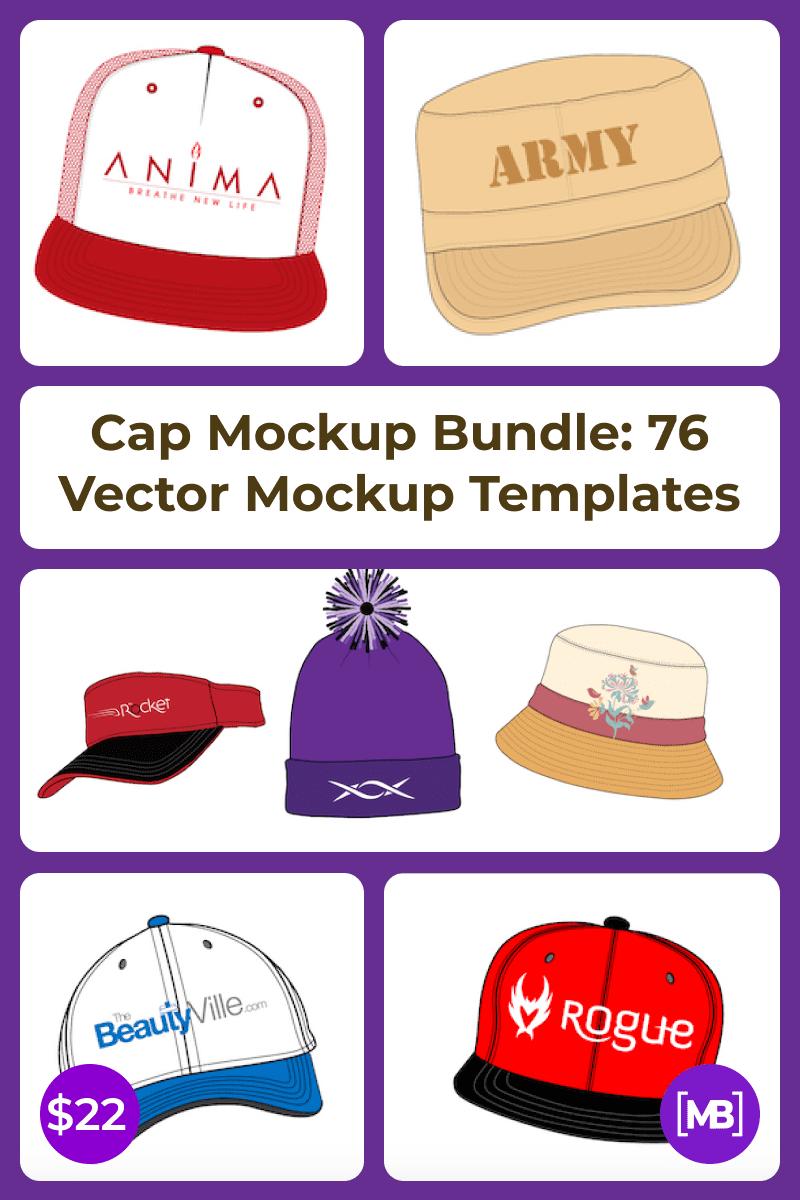 Cap Mockup Bundle: 76 Vector Mockup Templates. Collage Image.
