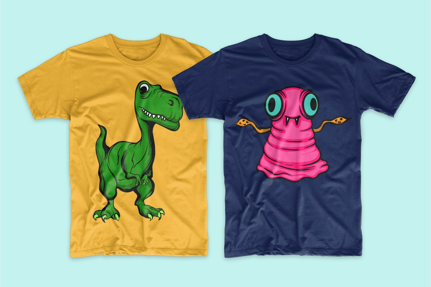 Yellow with a green dragon and blue with a pink worm.
