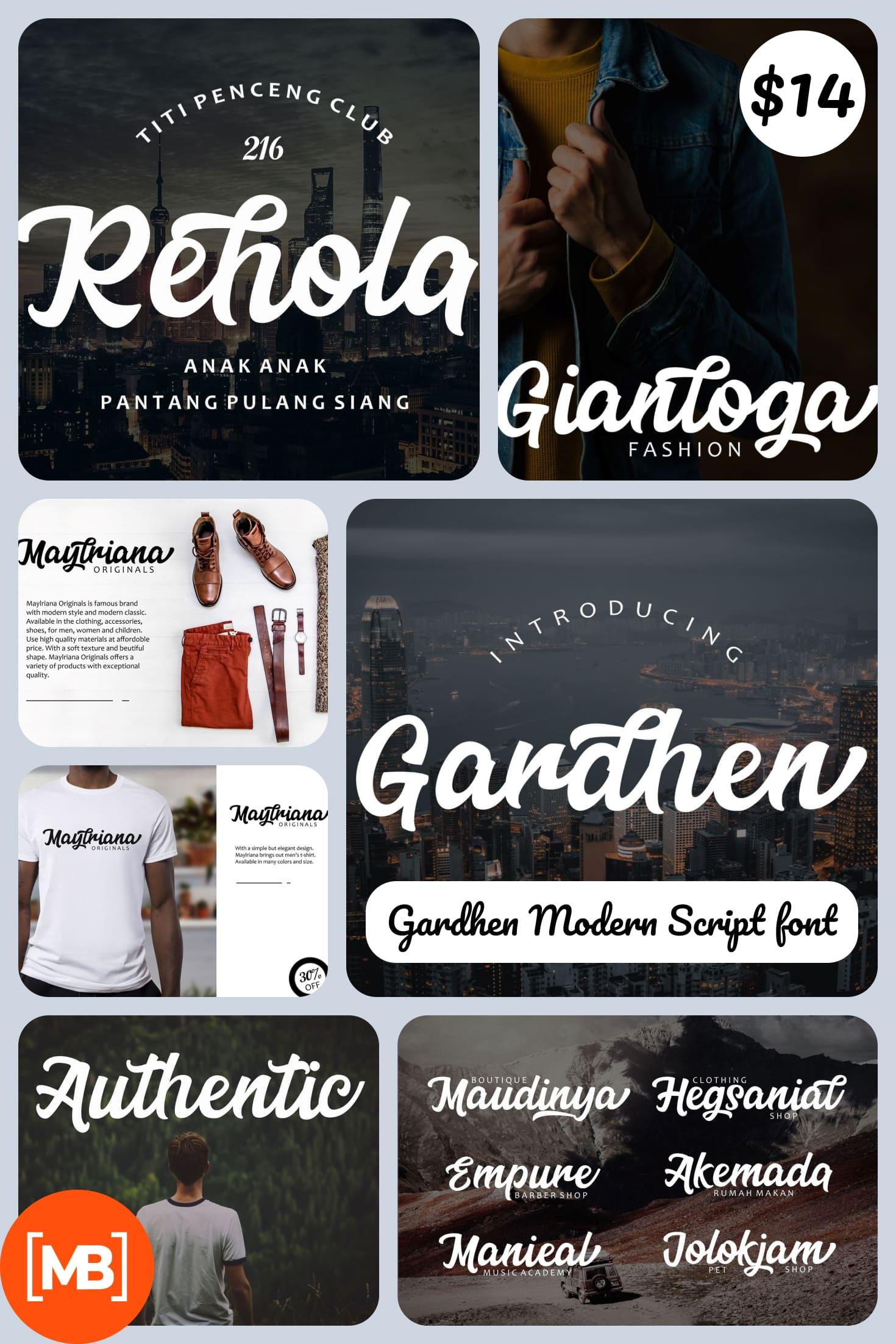Gardhen Modern Script font - $14. Collage Image.