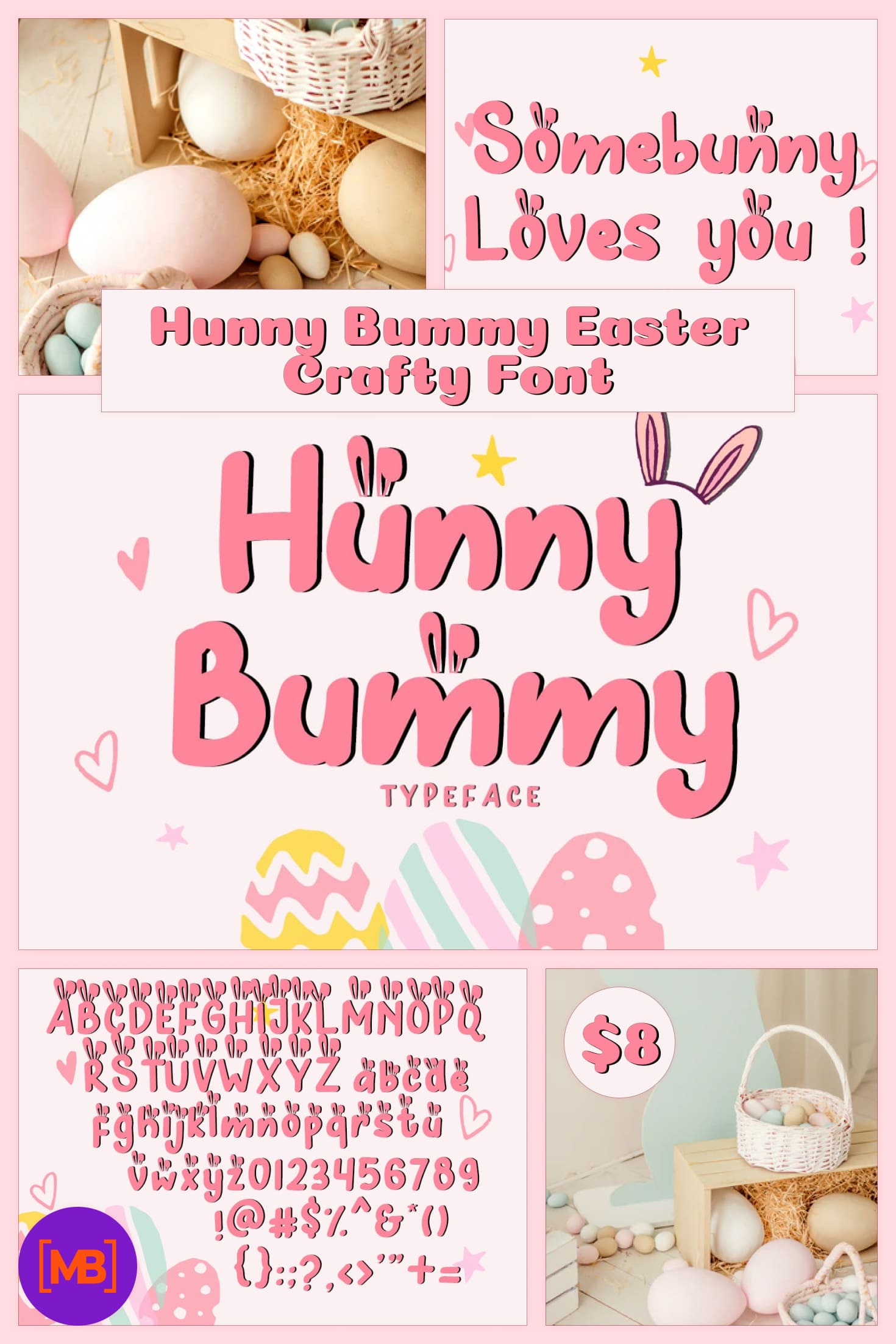 Hunny Bummy Easter Crafty Font - $8. Collage Image.