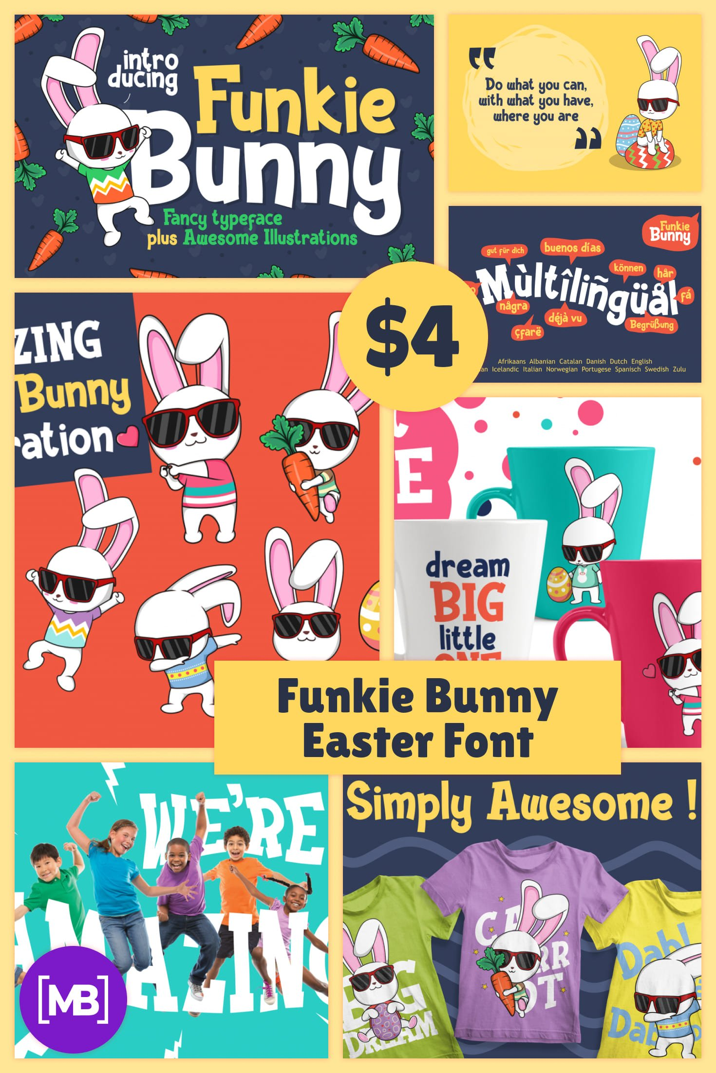 Easter Font - Funkie Bunny Font for Joyful Easter Decorations. Only $4. Collage Image.
