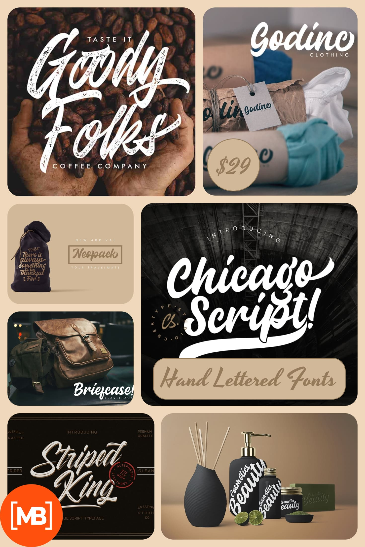 Hand Lettered Fonts - 16 Stunning Fonts - OTF, TTF, WOFF. Just $29!. Collage Image.