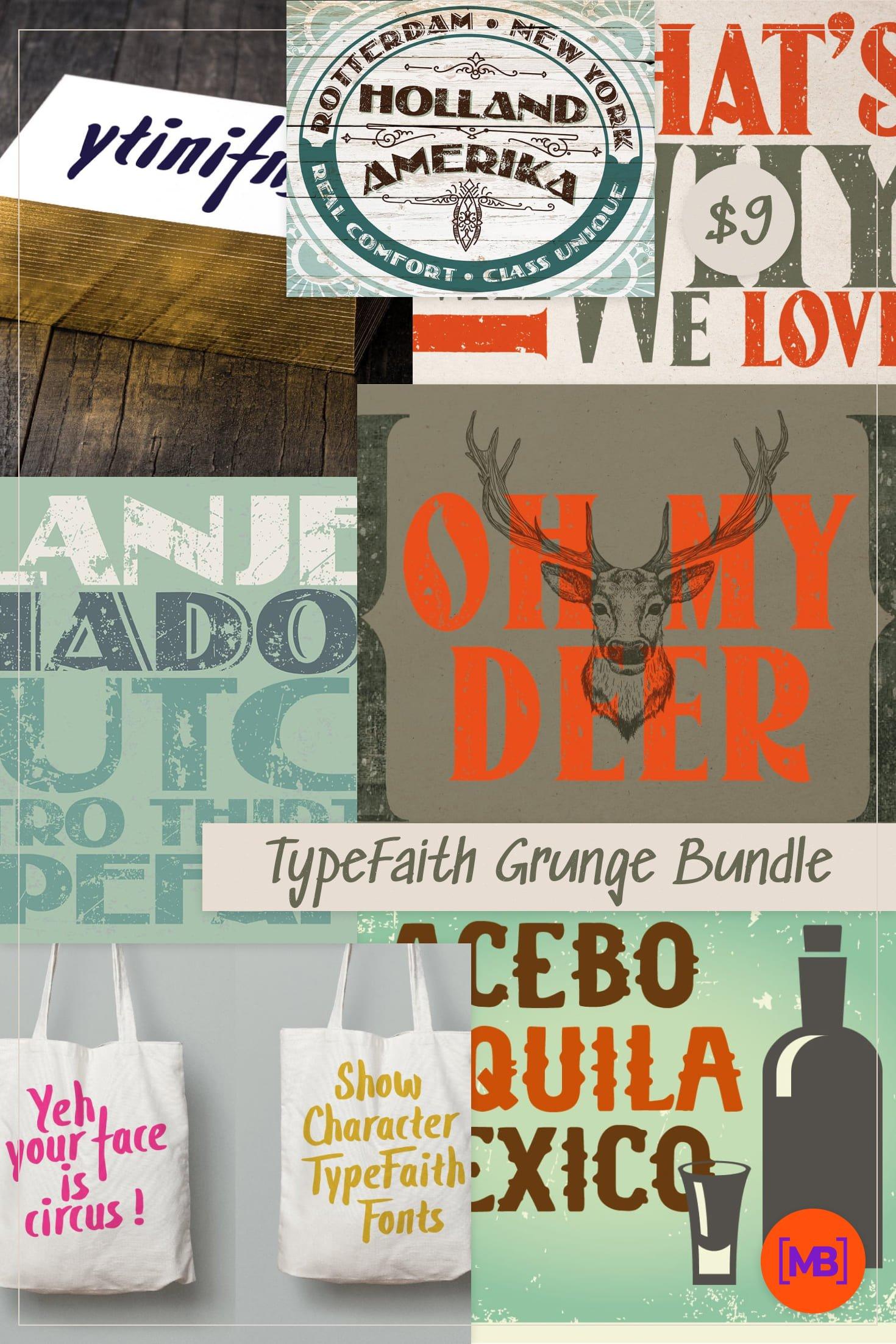TypeFaith Grunge Bundle: 18 Grunge Script Fonts - just $9. Collage Image.