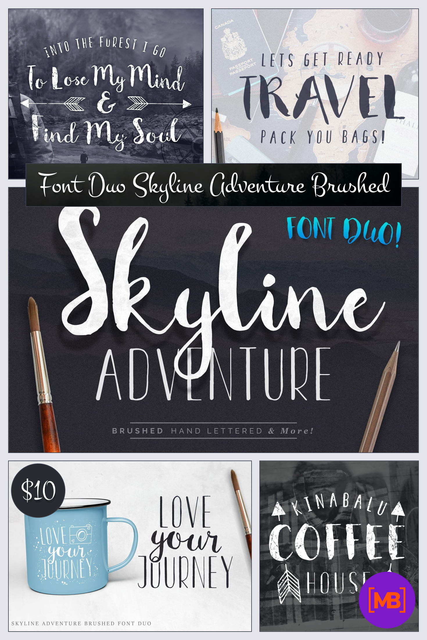 Font Duo Skyline Adventure Brushed + Vector Elements - $10. Collage Image.