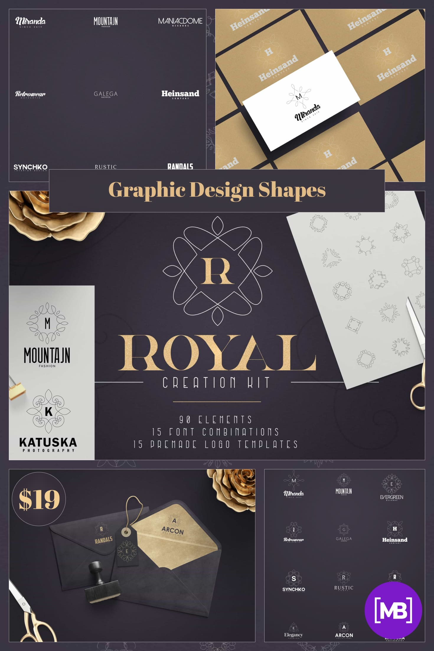 Graphic Design Shapes - Royal Creation Kit 100 Elements. Only $19. Collage Image.