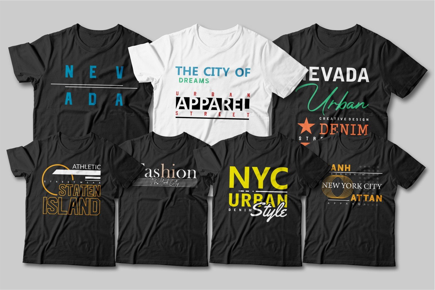 A bunch of black T-shirts and one white one. Urban Street Style T-shirt Designs.