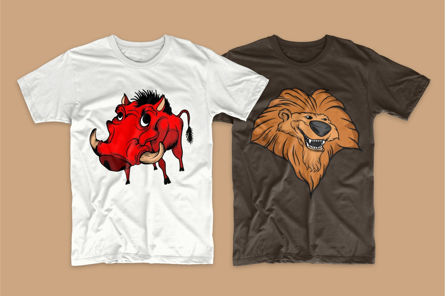 White T-shirt with a horned bull and brown with a cheerful lion.