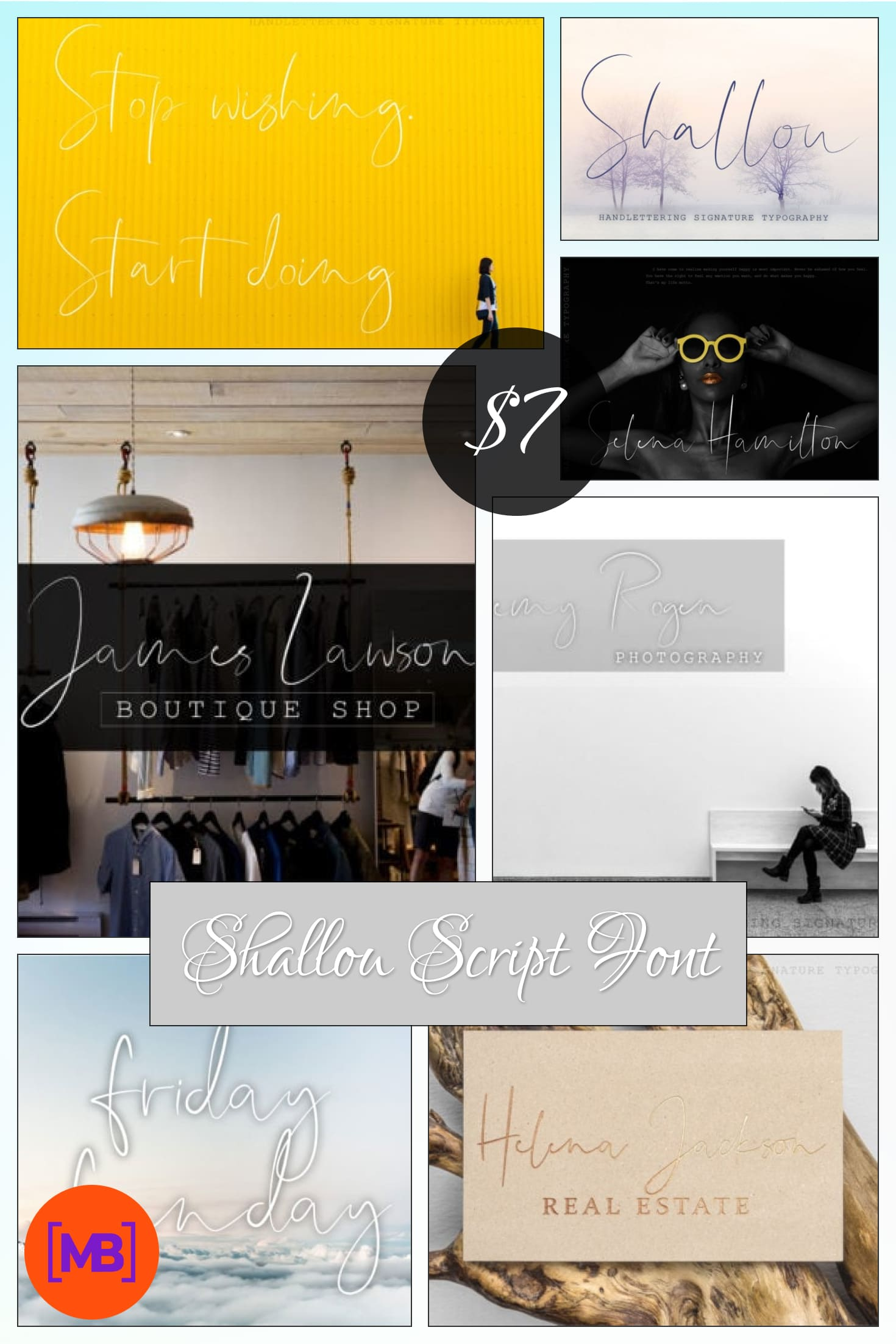 Shallou Script Font - $7 ONLY. Collage Image.