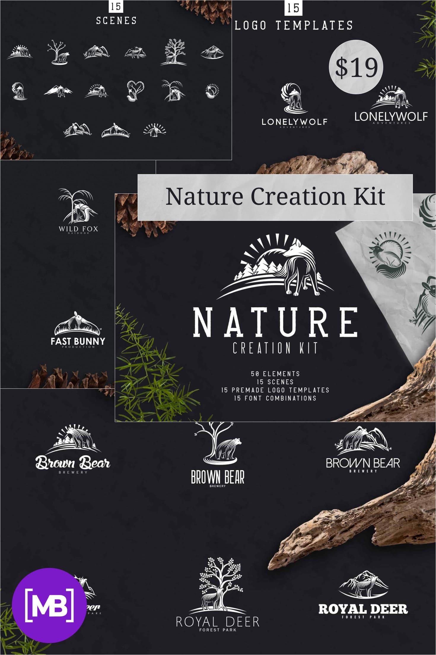Nature Creation Kit: Fonts, Logo, Elements - $19. Collage Image.