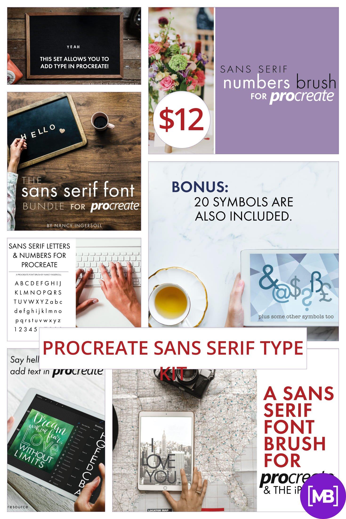 Procreate Sans Serif Type Kit - $12. Collage Image.