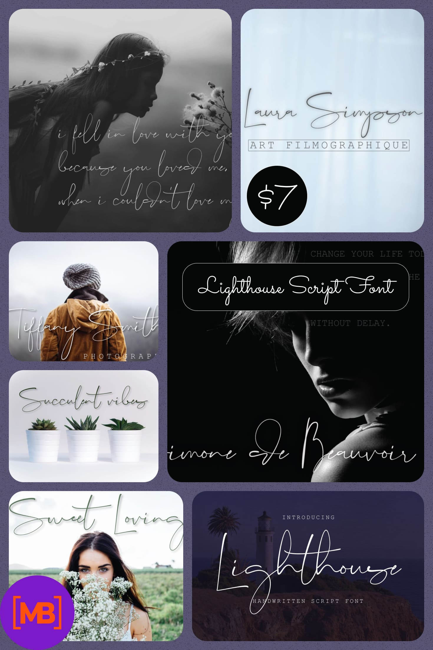 Lighthouse Script Font - $7 only. Collage Image.