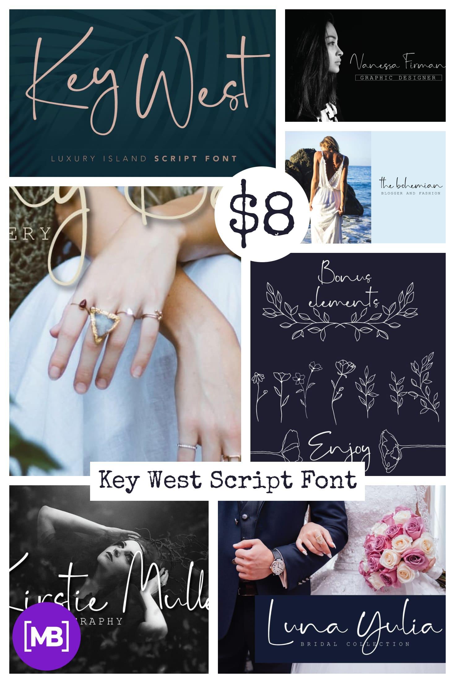 Key West Script Font - $8. Collage Image.