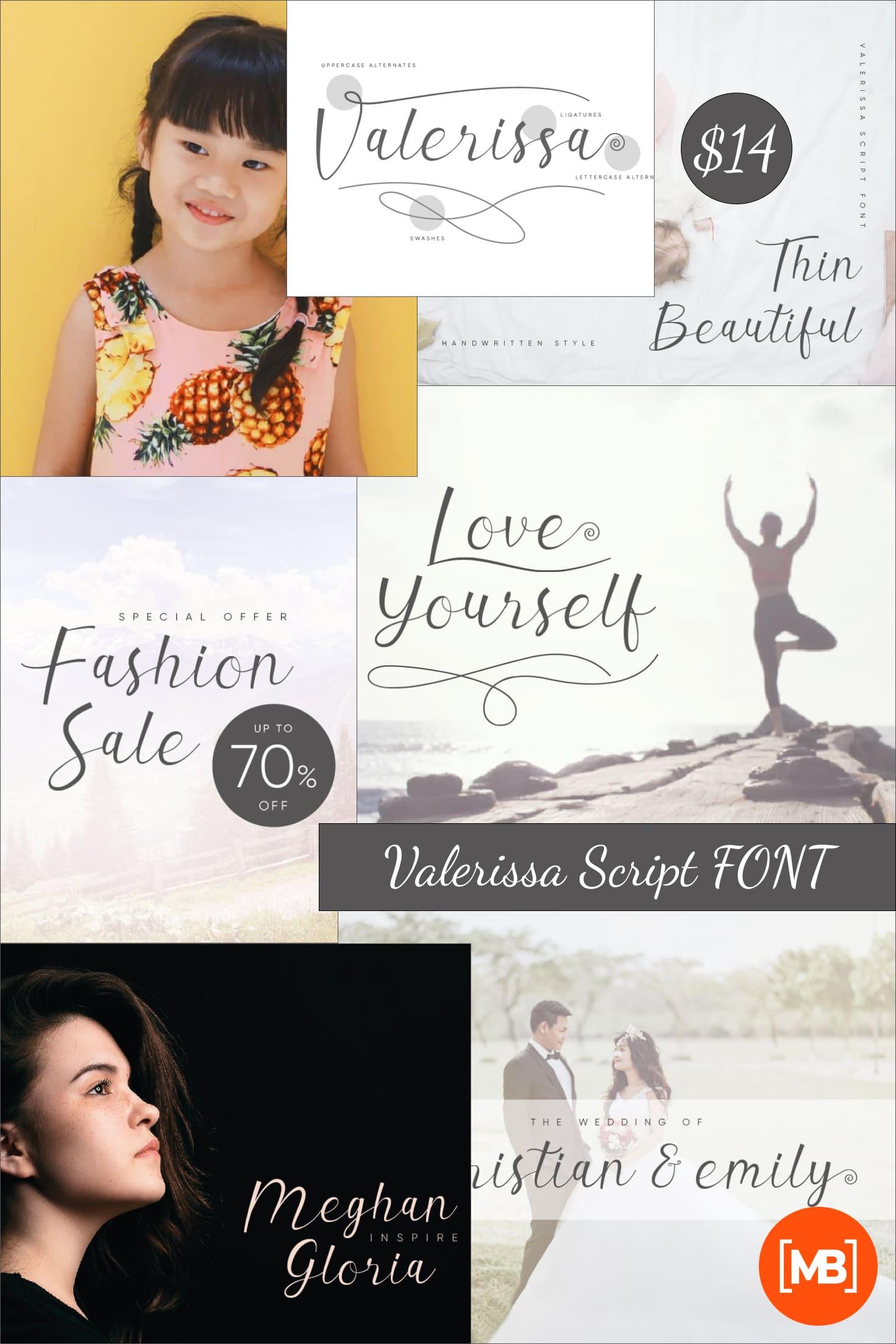 Valerissa Script FONT – just $14. Collage Image.