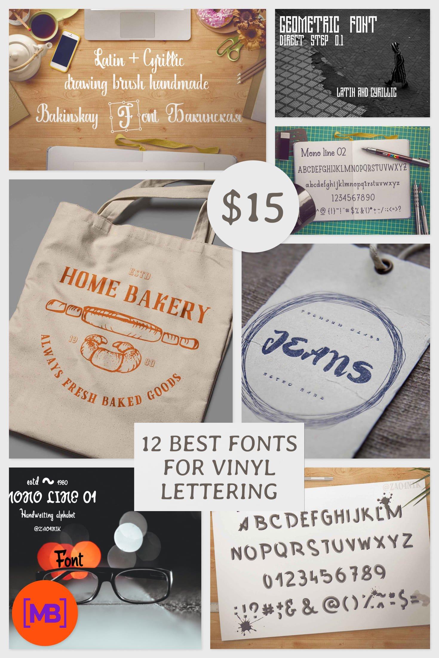 12 Best Fonts for Vinyl Lettering in 2020. Collage Image.