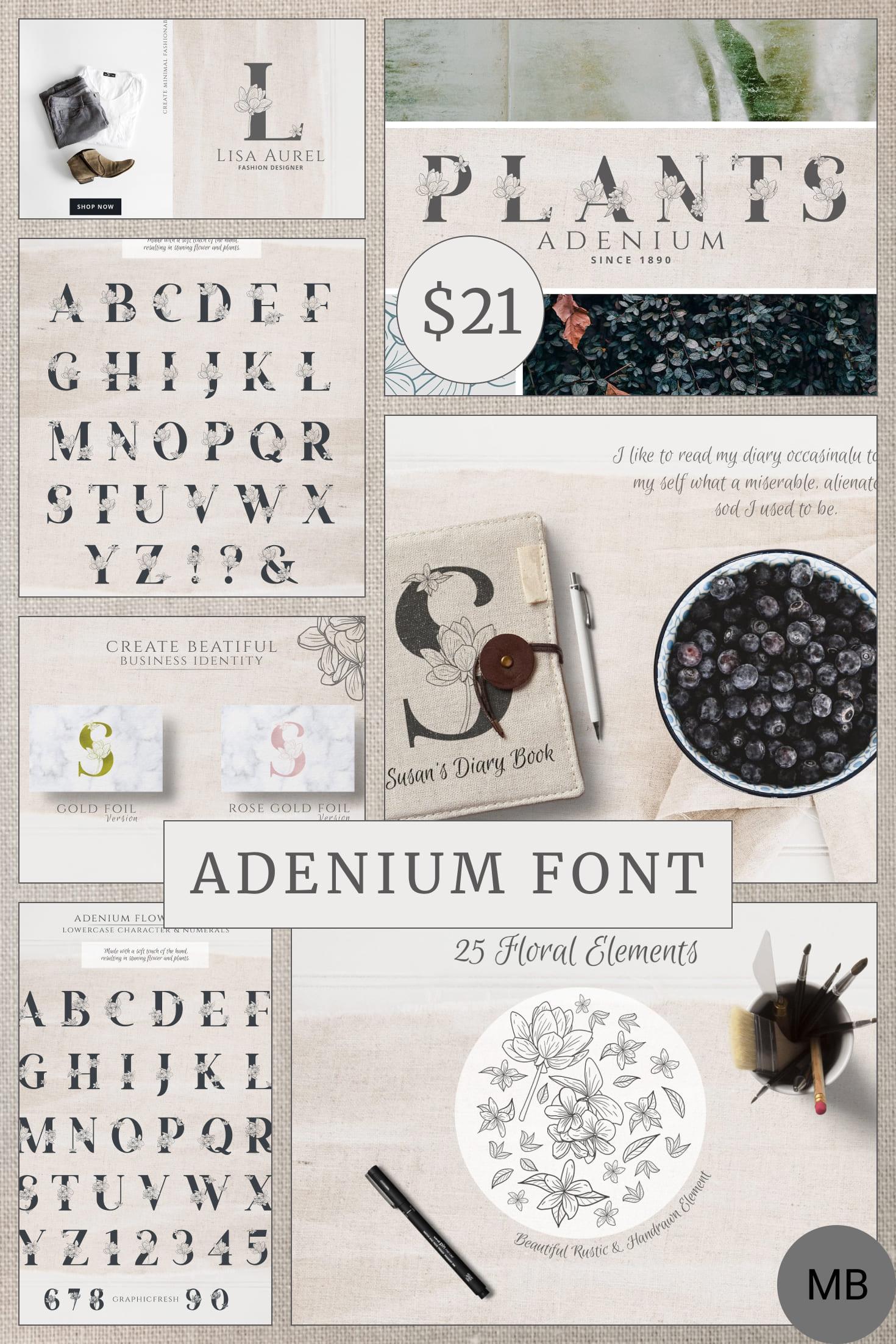 Adenium Font + Gold & Rose Gold Foil - $21. Collage Image.