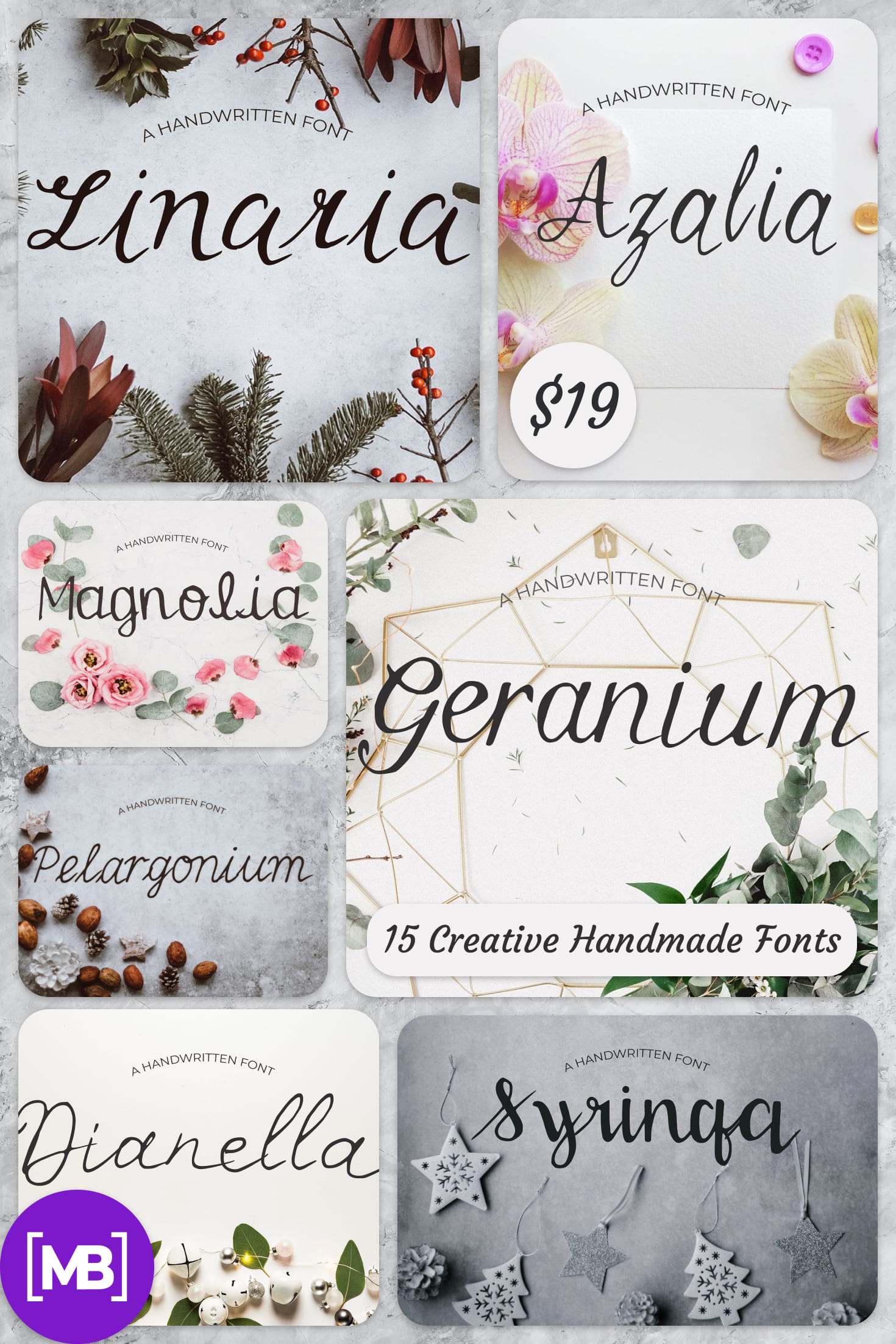 15 Creative Handmade Fonts - $19 ONLY. Collage Image.