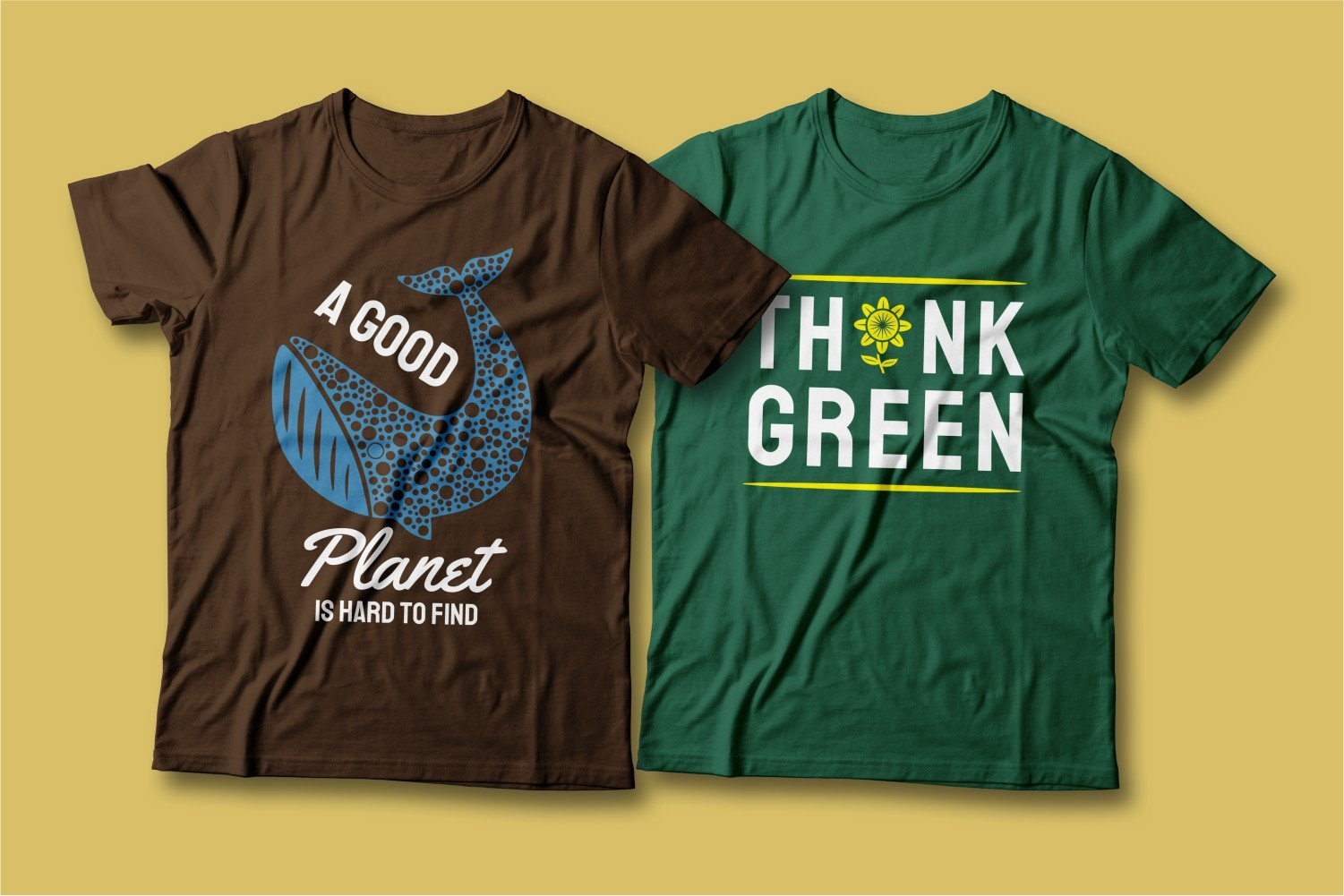 Two T-shirts - one brown with a blue whale, the other green.