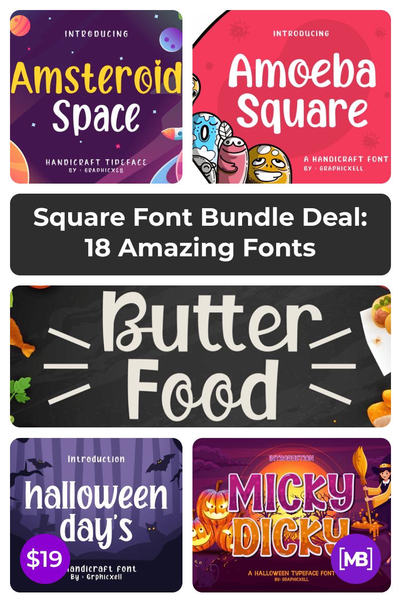 Square Font Bundle Deal: 18 Amazing Fonts. Pinterest Image.