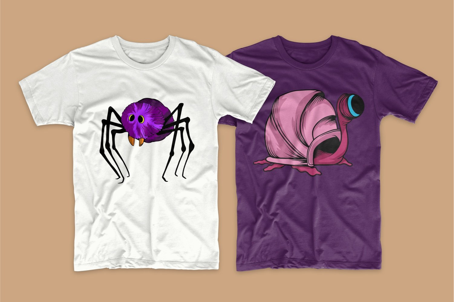 White T-shirt with a spider and a purple one with a snail.