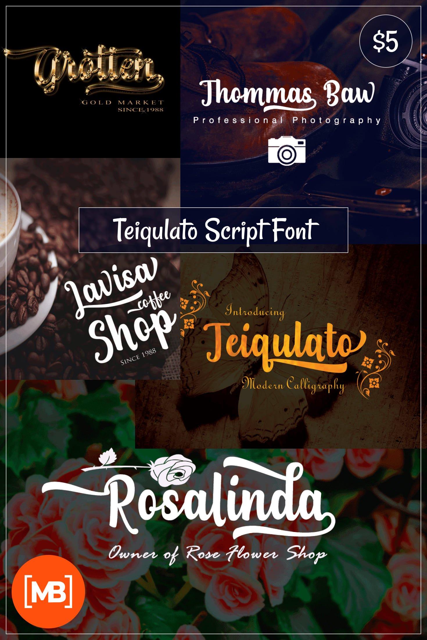 Download Teiqulato Script Font - $5. Collage Image.
