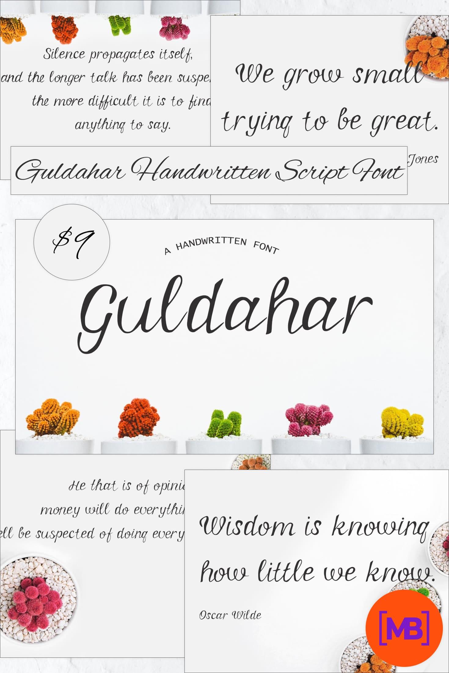 Guldahar Handwritten Script Font - just $9. Collage Image.
