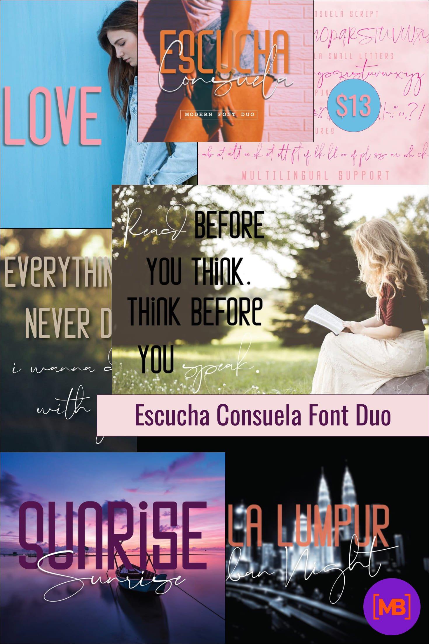 Escucha Consuela Font Duo - $13. Collage Image.