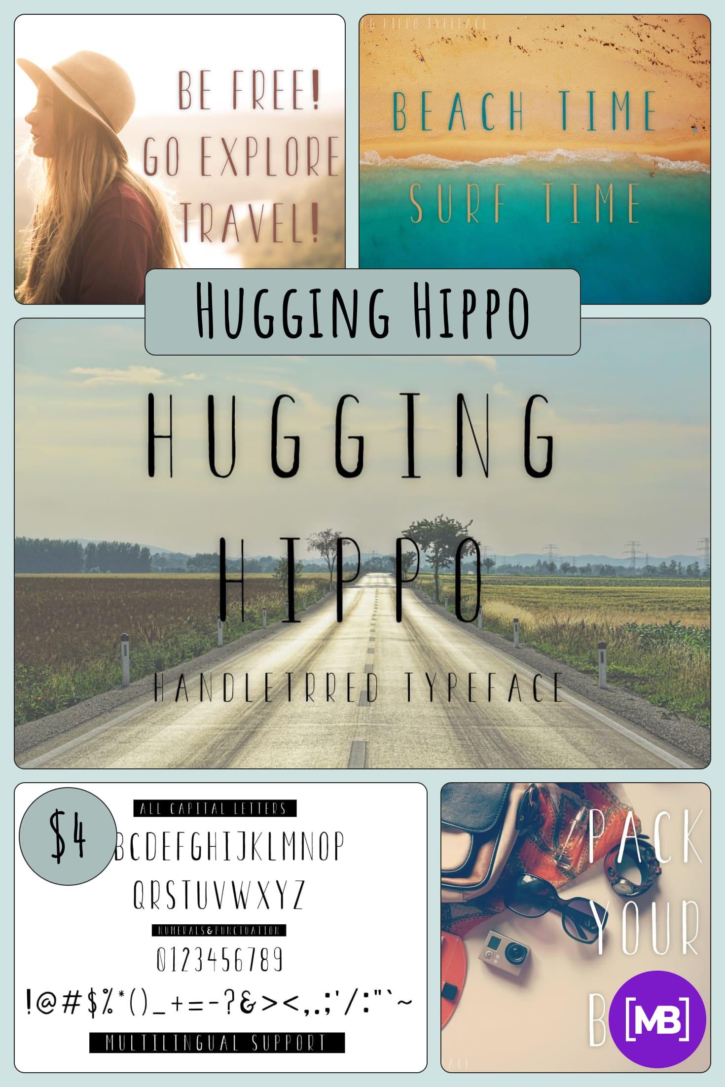 Hugging Hippo regular font - $4. Collage Image.
