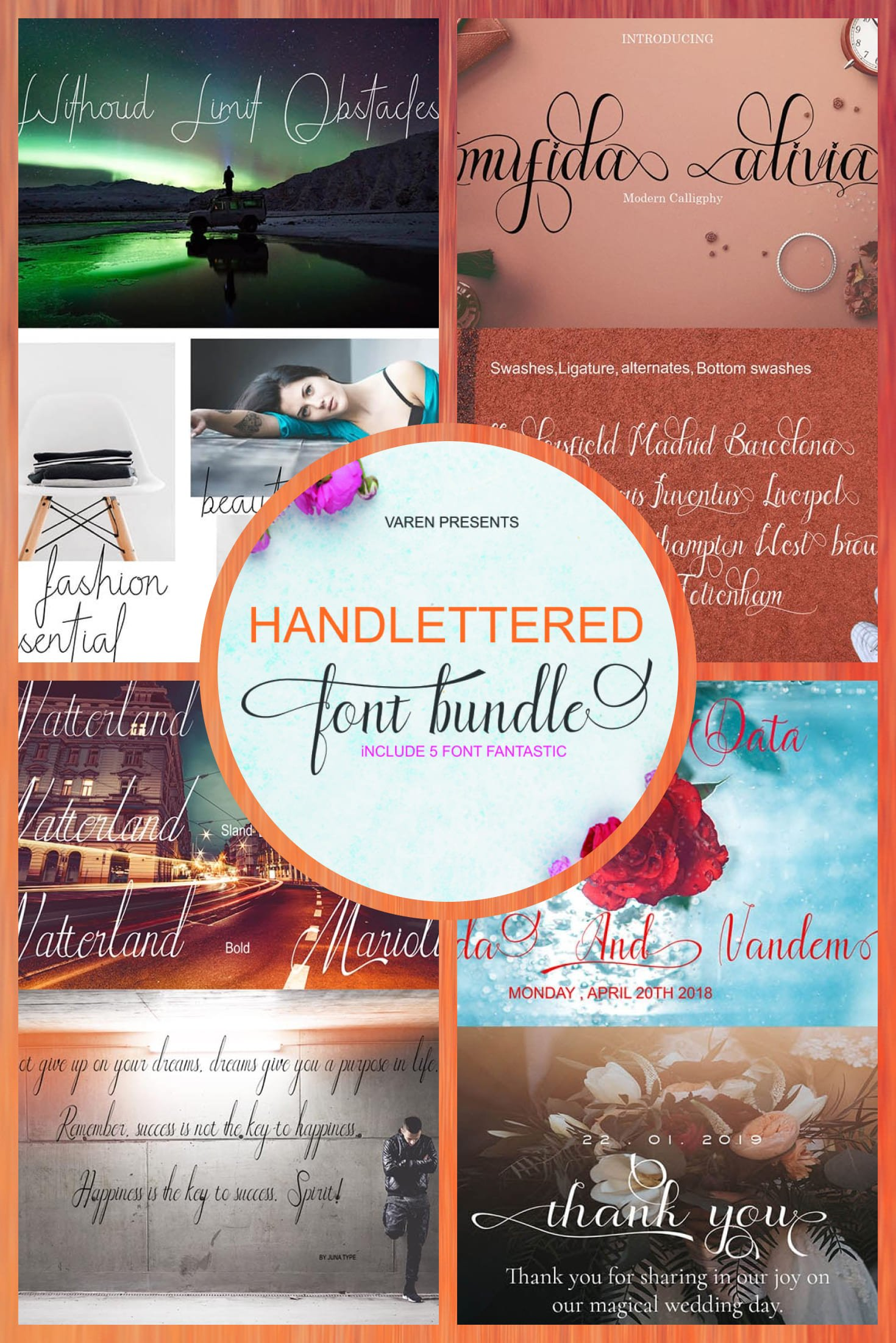 Hand Lettering Fonts - 5 Swirly Fonts for $10 Only. Collage Image.