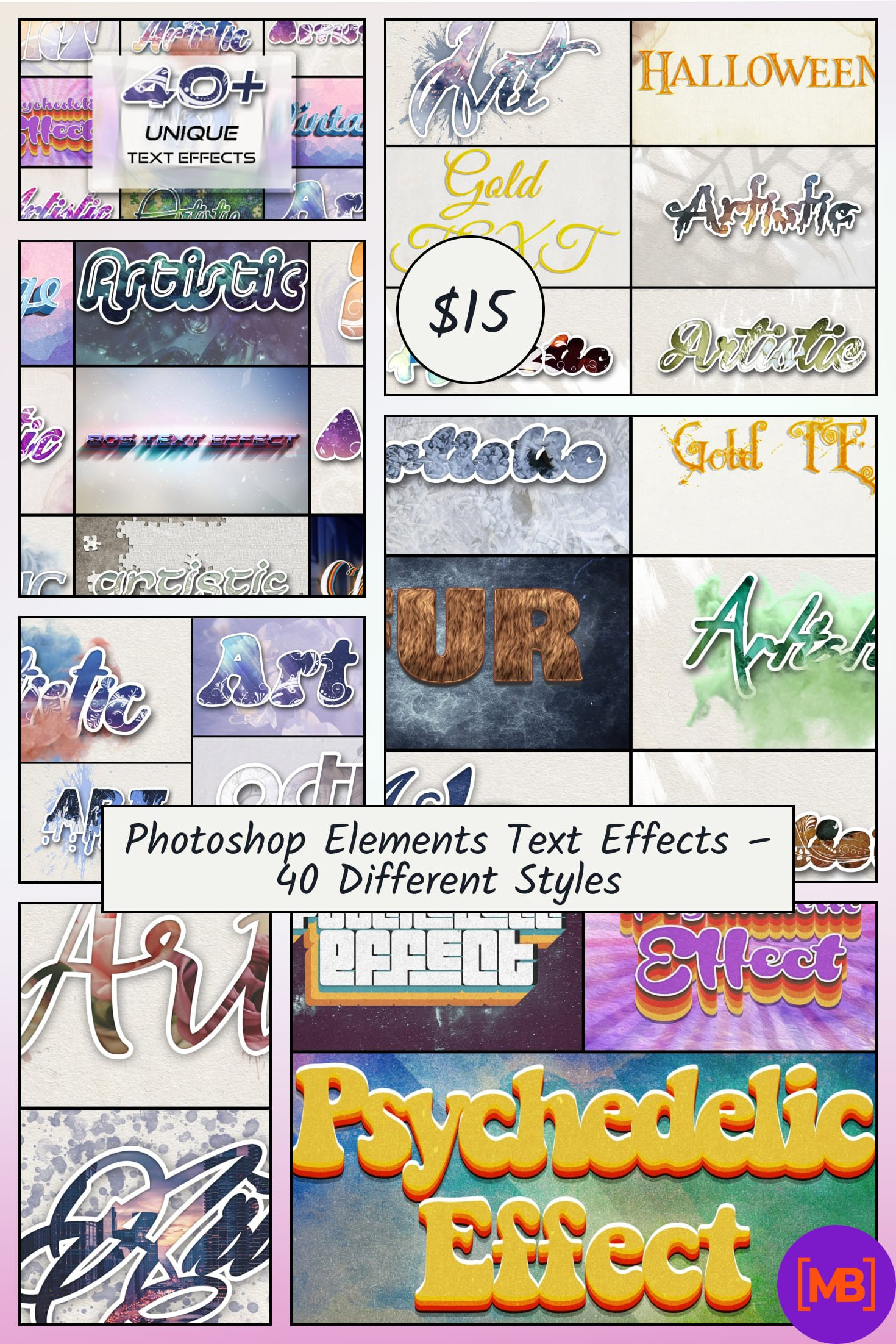Photoshop Elements Text Effects - 40 Different Styles. Collage Image.