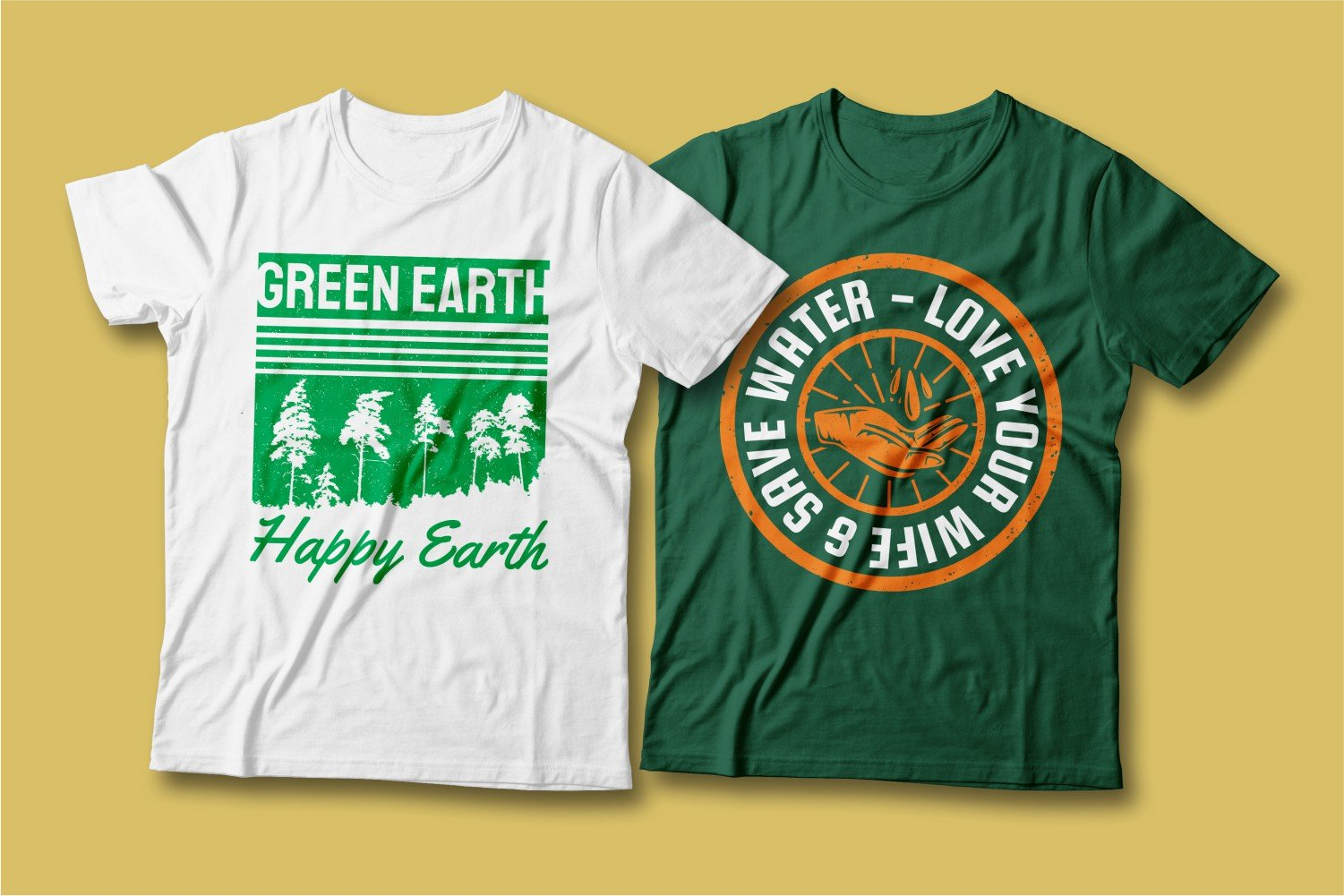 Two T-shirts - one white with a forest, the other green with an inscription about water conservation.