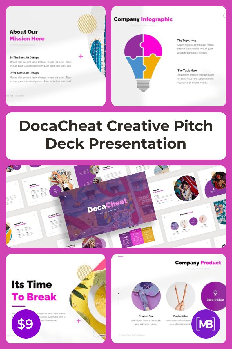 DocaCheat Creative Pitch Deck Presentation. Collage Image.