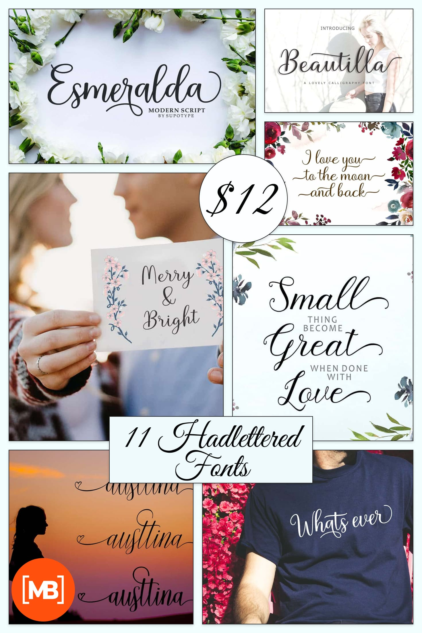 Pretty Fonts - 11 Hadlettered Fonts - 6 Typefaces. Collage Image.