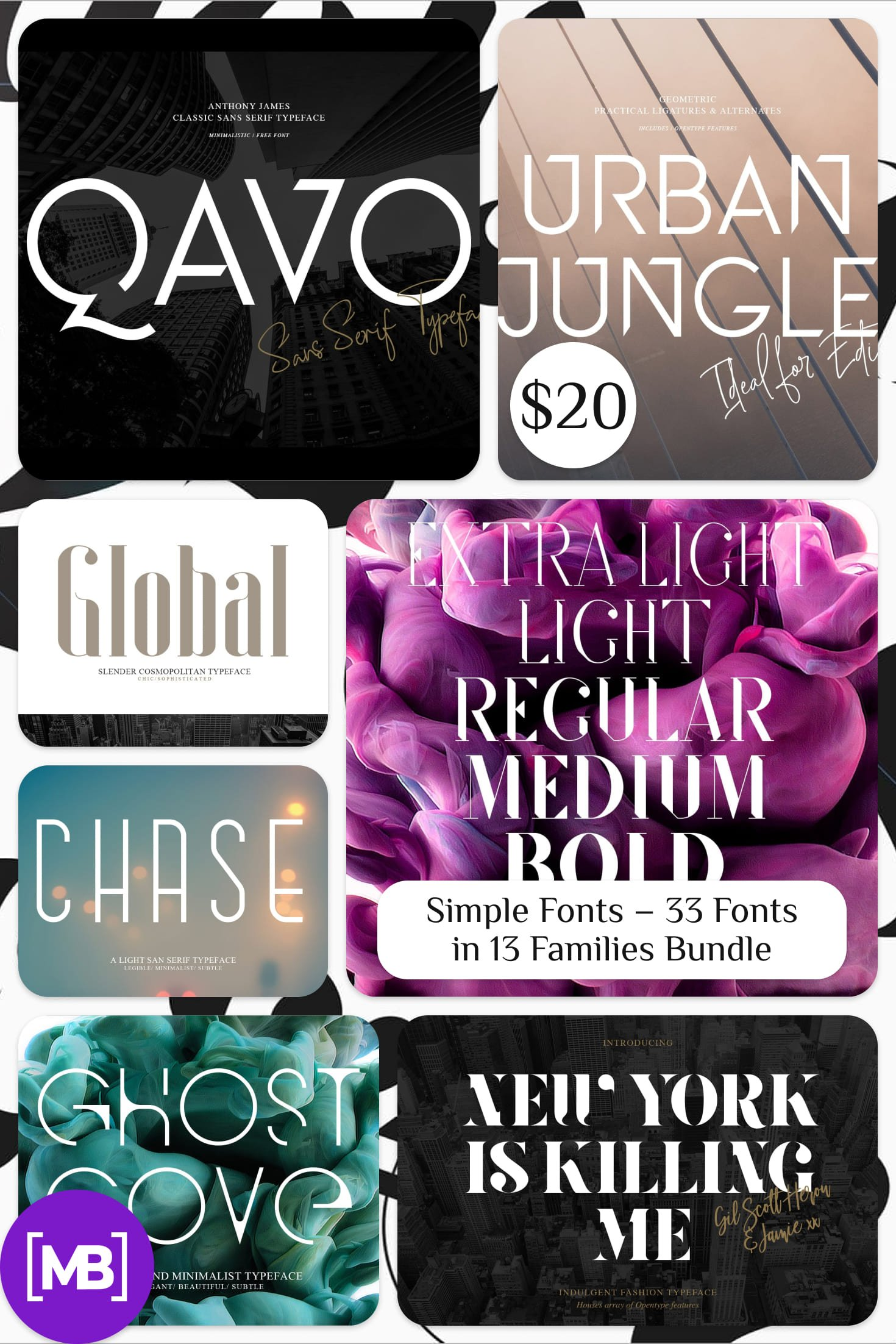 Simple Fonts - 33 Fonts in 13 Families Bundle. Collage Image.