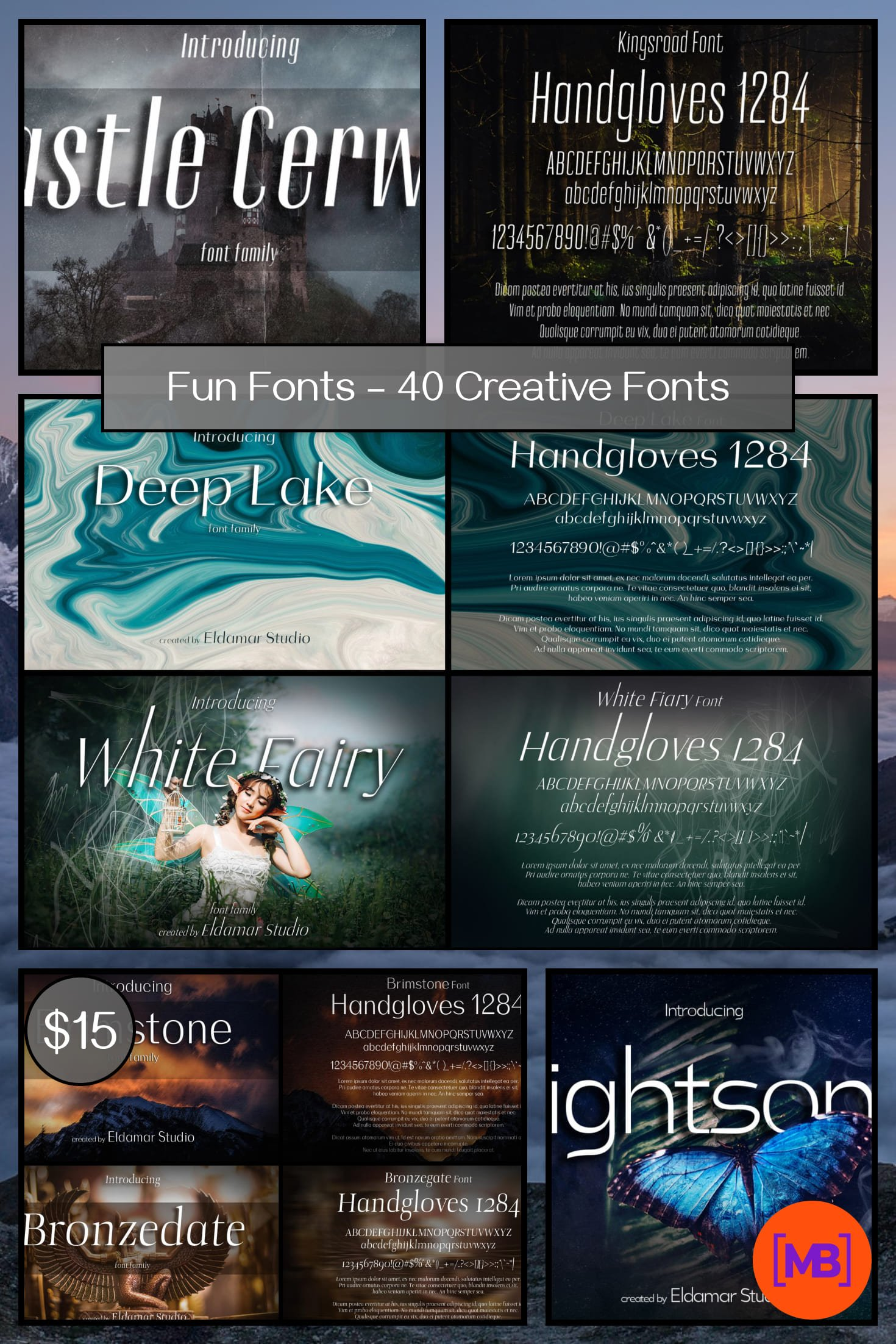 Fun Fonts - 40 Creative Fonts - 160 Files - Just $15. Collage Image.