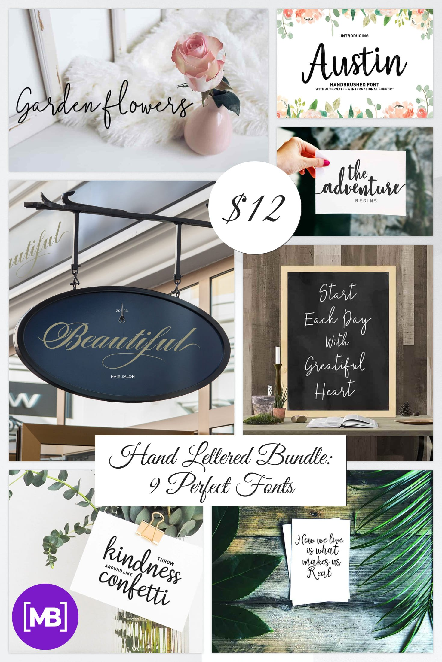 Hand Lettered Bundle: 9 Perfect Fonts - $12 ONLY. Collage Image.