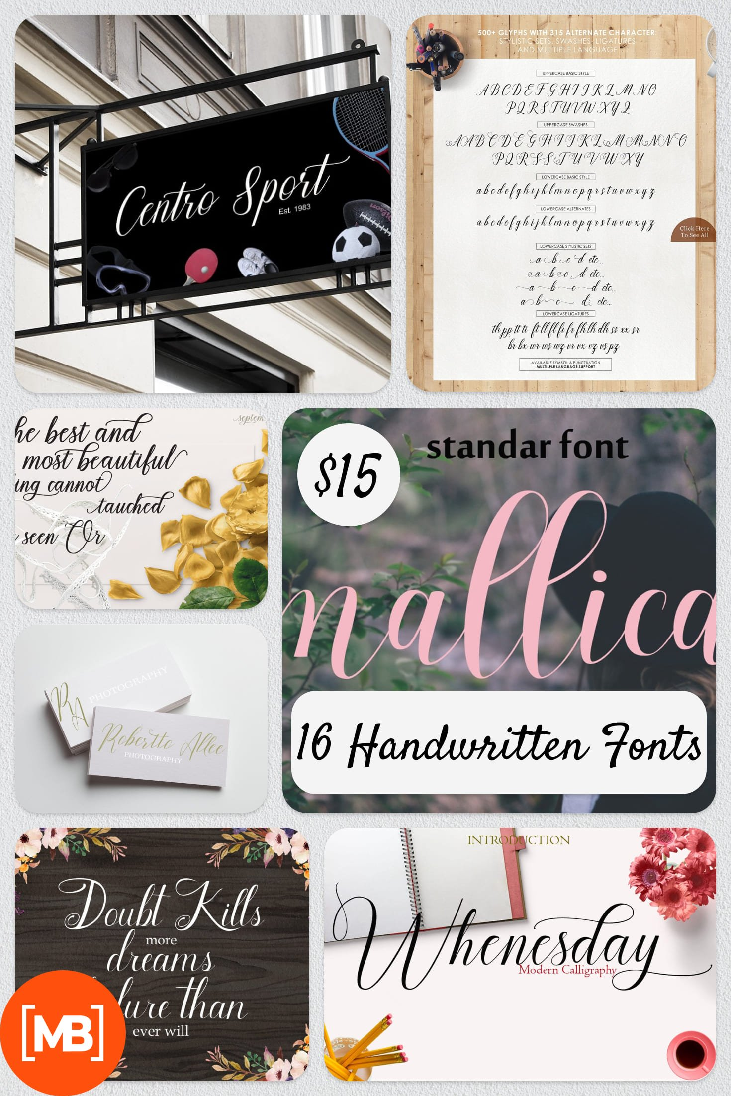 16 Handwritten Fonts - $15 ONLY. Collage Image.