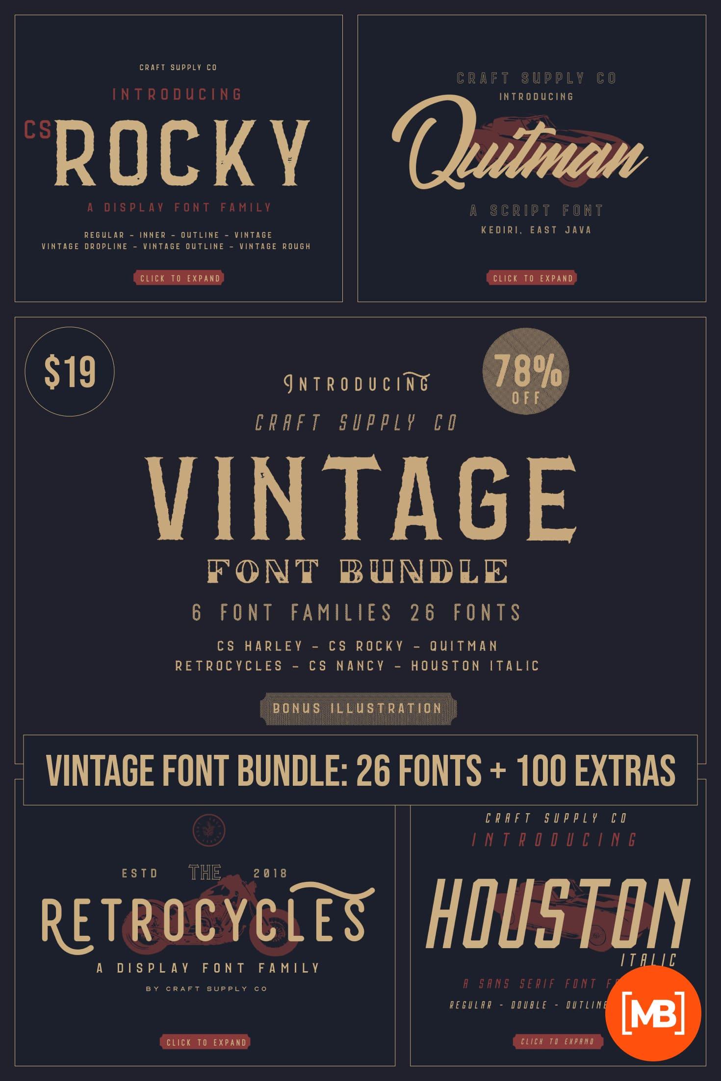 Vintage Font Bundle: 26 fonts + 100 extras - just $19. Collage Image.